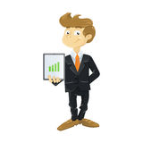 Young business man with tablet. Illustration of a cute young business man with tablet Royalty Free Stock Photos