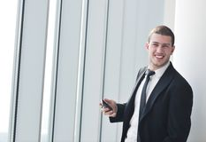 Young business man talk by cellphone Stock Image