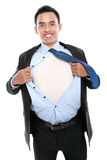 Young business man tearing off his shirt Royalty Free Stock Photos