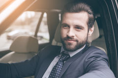 Young business man test drive new car Royalty Free Stock Images