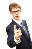 Young business man threaten whit finger. Isolated young business man threaten wit finger Royalty Free Stock Image