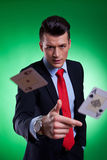 Young business man throwing the winning hand Stock Photography