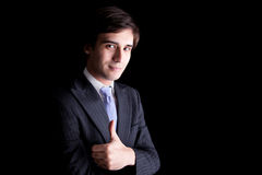 Young Business Man with thumb raised Royalty Free Stock Images