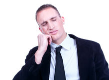 Young business man with a toothache Royalty Free Stock Image