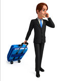 Young Business Man with traveling bag Royalty Free Stock Image