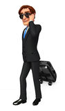Young Business Man with  traveling   bag Stock Photography