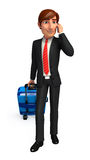 Young Business Man with traveling bag Stock Image