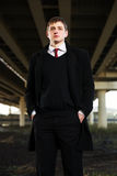 Young business man under highway road intersection Royalty Free Stock Photos