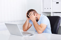 Young business man under stress with headache. And migraine Royalty Free Stock Images