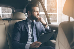 Young business man  using digital device. Young business person test drive new vehicle using digital device Royalty Free Stock Photography