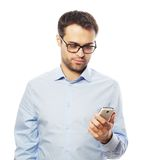 Young business man using mobile phone. Life style, business  and people concept: Young business man using mobile phone Stock Photo