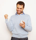 Young business man using mobile phone Royalty Free Stock Photo