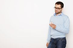 Young business man using mobile phone Royalty Free Stock Photography