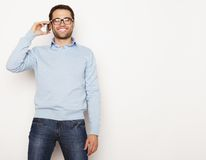 Young business man using mobile phone Stock Images