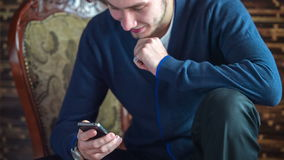 Young Business Man Using Smart Phone stock footage