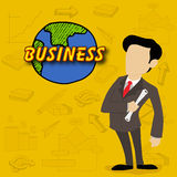 Young business man with variouns infographic elements. Stock Photos