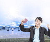 Young business man and visa passport in hand was approve with ha Stock Photos