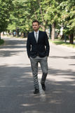 Young Business Man Walking Outdoors In Park Royalty Free Stock Photo