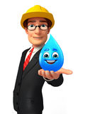 Young Business Man with water drop Royalty Free Stock Photos