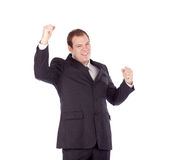 Young business man white isolate champion hands Royalty Free Stock Photography