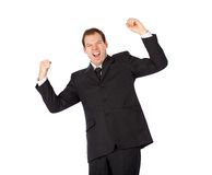 Young business man white isolate champion hands Royalty Free Stock Images