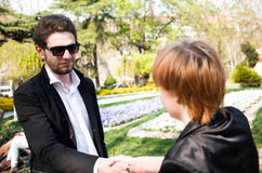 Young business man and woman Stock Photography