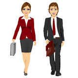 Young business man and woman walking forward Royalty Free Stock Image