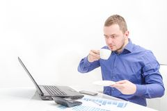 Young business man work in modern office on computer Stock Photography