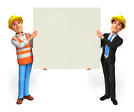 Young Business man and worker  with sign Stock Images