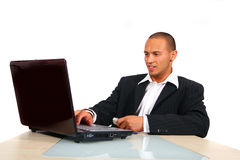 Young Business Man Working On His Laptop Royalty Free Stock Photography