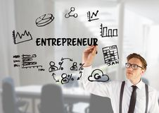Young business men drawing a graphic about entrepreneur Royalty Free Stock Image