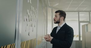 Young business men write some plans on the small paper and stick on the wall in the office. 4k stock footage
