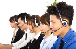 Young business people and colleagues working in  call center Royalty Free Stock Images