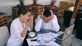 Young business people conflict problem working on project in team together, businessmen and women serious argument the