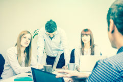 Young business people employee workers in moment of crisis Royalty Free Stock Images