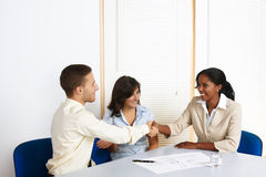 Young business people greetings Royalty Free Stock Photography