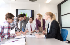 Young business people group on meeting at modern office Stock Image