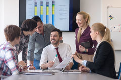 Young business people group on meeting at modern office Royalty Free Stock Images