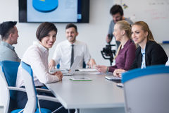 Young business people group on team meeting at modern office Stock Photography