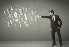 Young business people with hand drawn dollar signs Royalty Free Stock Photos