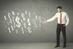 Young business people with hand drawn dollar signs Royalty Free Stock Image