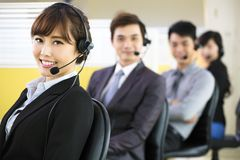 Young business people  with headset Stock Photography