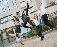 Young Business People In The Jump Stock Photo