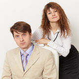 Young business people - man and woman Royalty Free Stock Image