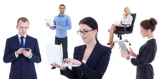 Young business people with mobile phones and computers isolated Stock Photo