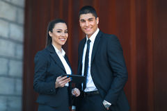 Young business people posing. Outdoor Royalty Free Stock Images