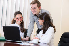 Young business people talking on meeting Stock Photo