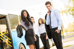 Young  Business People Waiting For The City Bus Royalty Free Stock Image