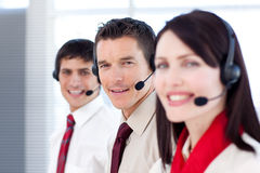 Young business people working in a call center Royalty Free Stock Photo