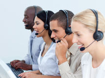 Young business people working in a call center Royalty Free Stock Images